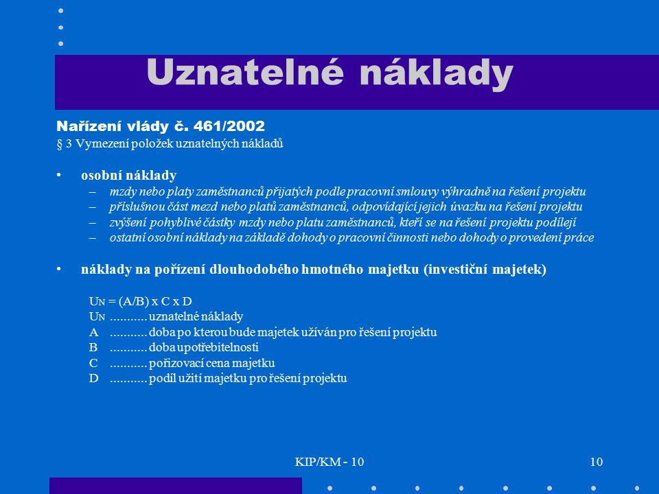 Uznatelné náklady Nařízení vlády č. 461/2002 osobní náklady