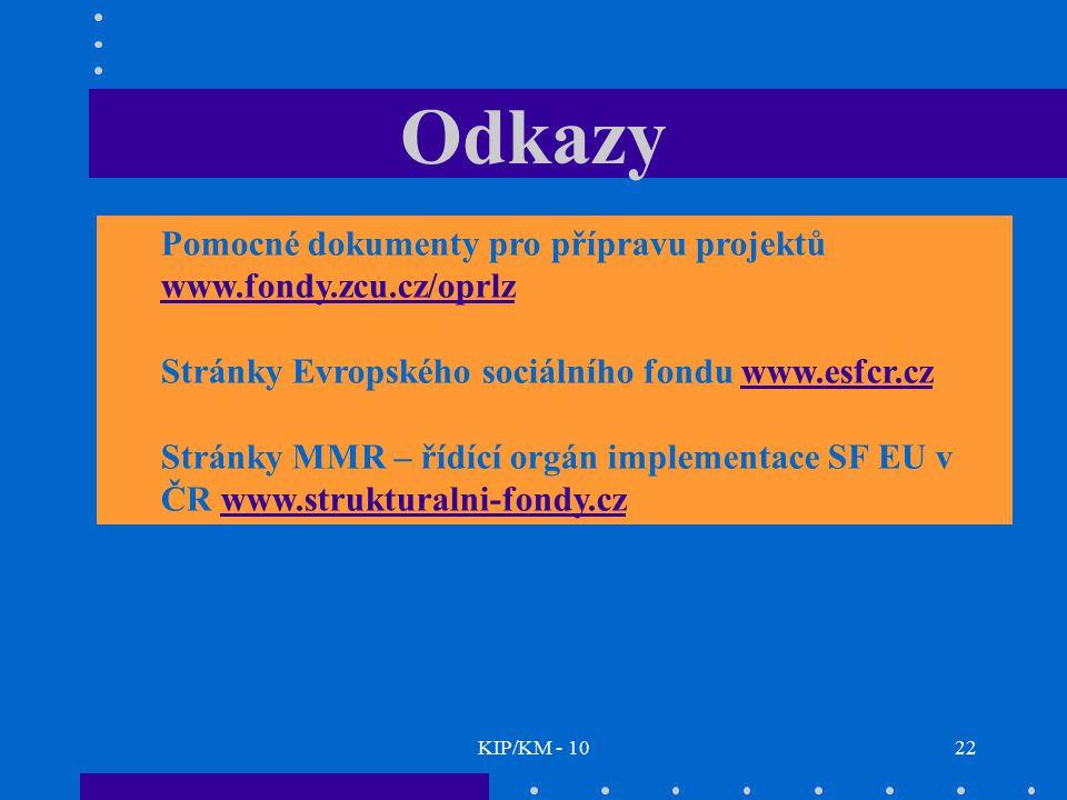 Odkazy Pomocné dokumenty pro přípravu projektů www.fondy.zcu.cz/oprlz