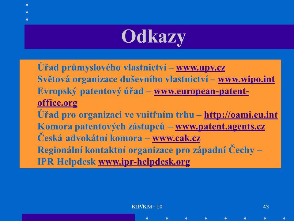 Odkazy Úřad průmyslového vlastnictví – www.upv.cz