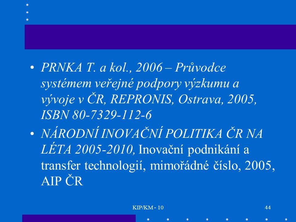 PRNKA T. a kol., 2006 – Průvodce systémem veřejné podpory výzkumu a vývoje v ČR, REPRONIS, Ostrava, 2005, ISBN 80-7329-112-6