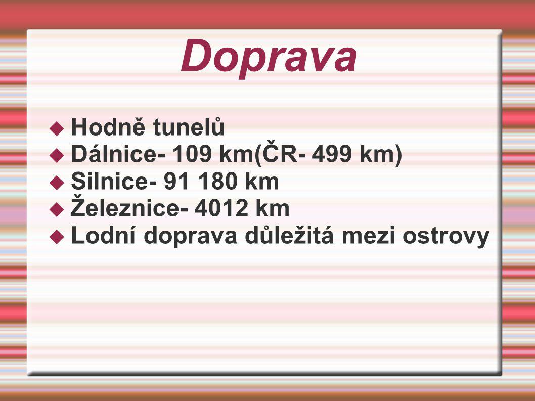 Doprava Hodně tunelů Dálnice- 109 km(ČR- 499 km) Silnice- 91 180 km