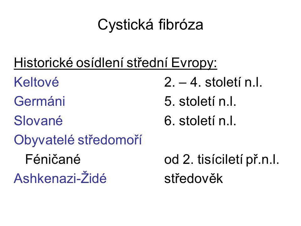 Cystická fibróza Historické osídlení střední Evropy: