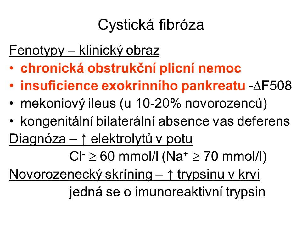 Cystická fibróza Fenotypy – klinický obraz