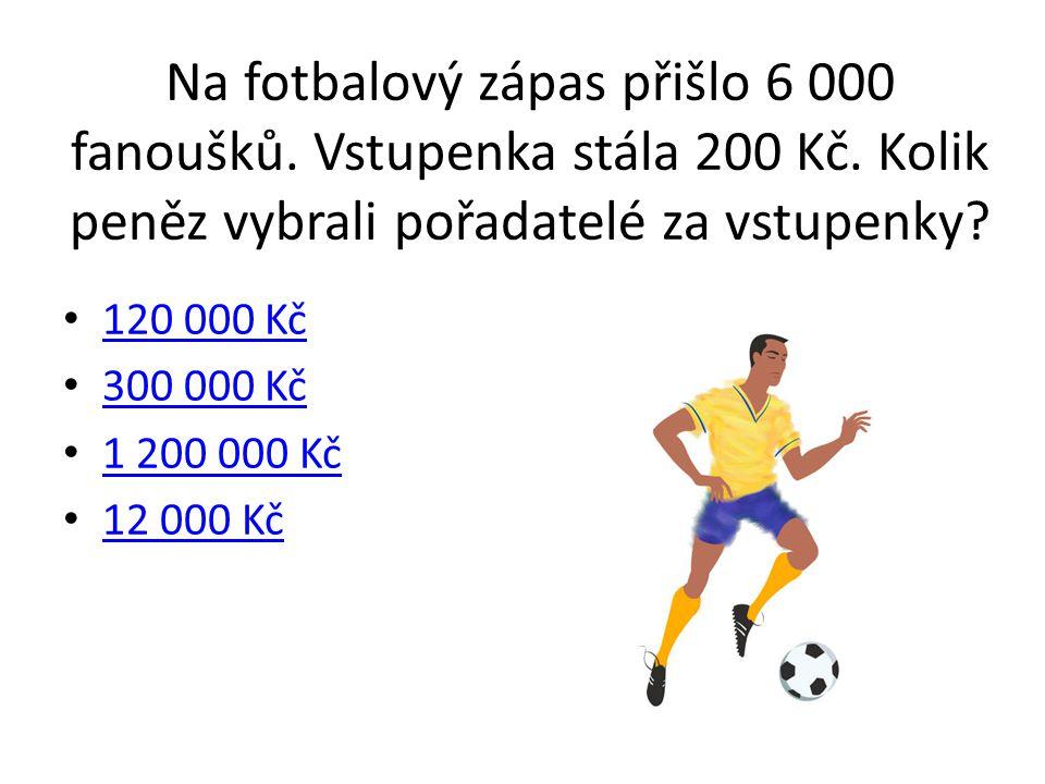Na fotbalový zápas přišlo 6 000 fanoušků. Vstupenka stála 200 Kč