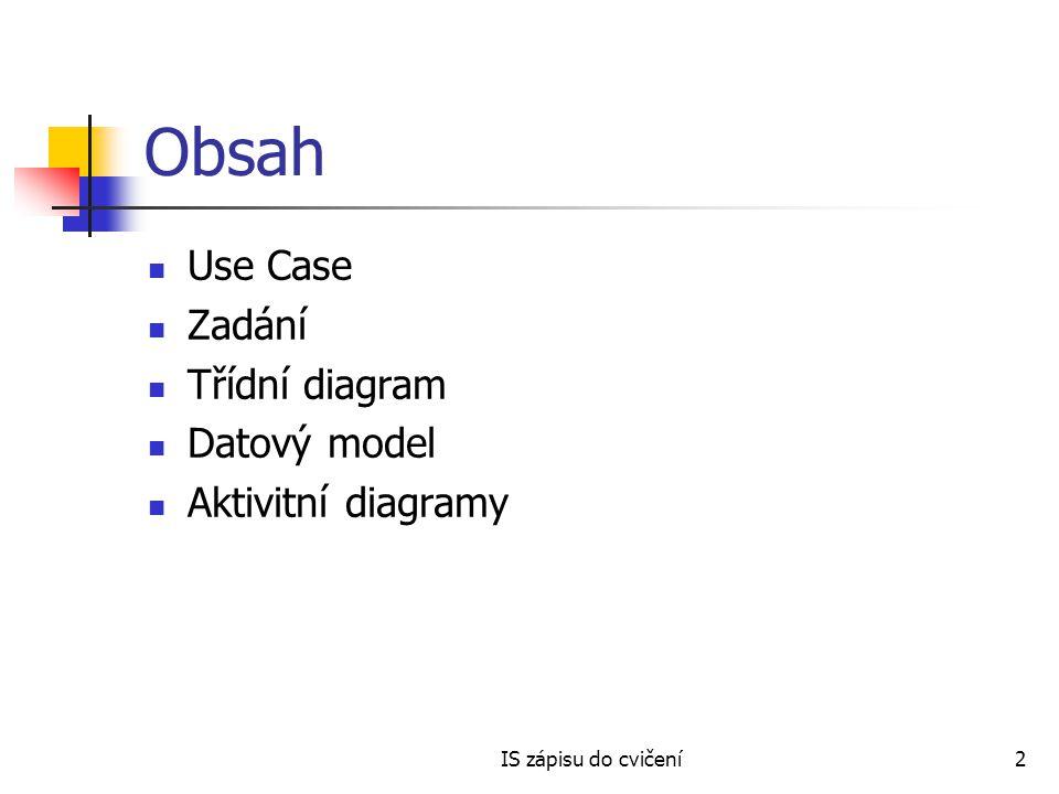 Obsah Use Case Zadání Třídní diagram Datový model Aktivitní diagramy