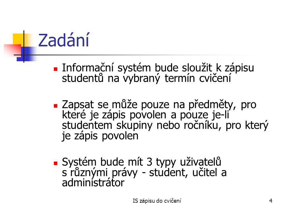 Zadání Informační systém bude sloužit k zápisu studentů na vybraný termín cvičení.