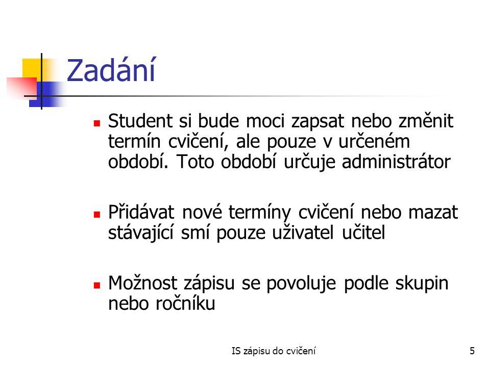 Zadání Student si bude moci zapsat nebo změnit termín cvičení, ale pouze v určeném období. Toto období určuje administrátor.
