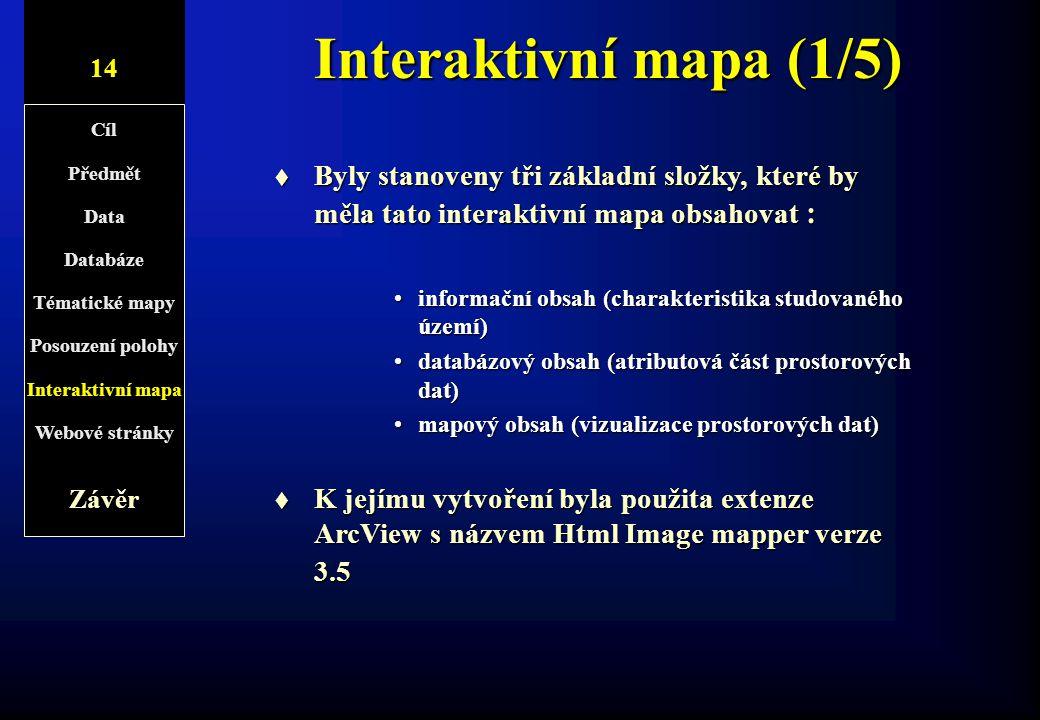 Interaktivní mapa (1/5) 14. 8/1. Cíl. Předmět. Data. Databáze. Tématické mapy. Posouzení polohy.