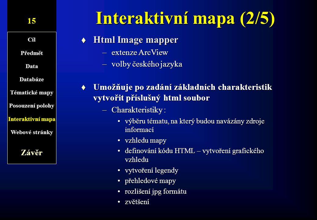 Interaktivní mapa (2/5) Html Image mapper