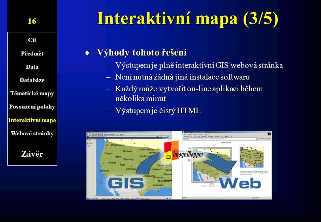 Interaktivní mapa (3/5) Výhody tohoto řešení 10/1 16 Závěr