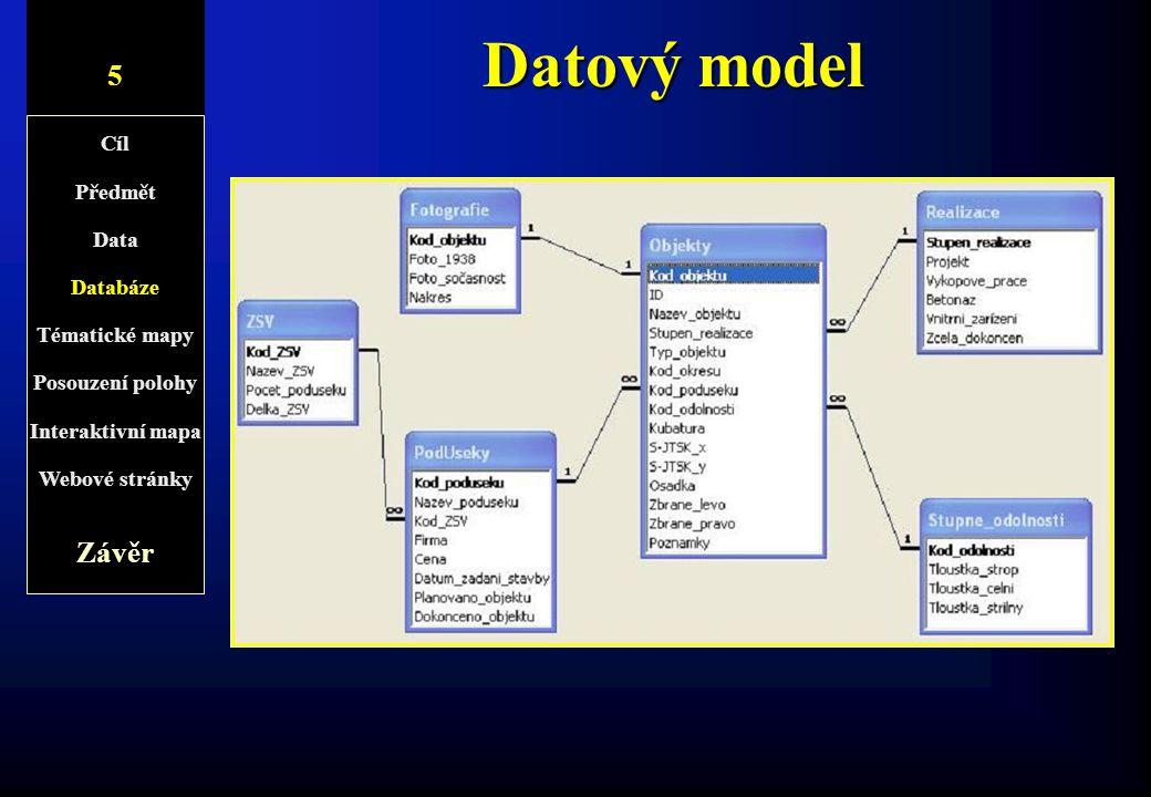 Datový model 5 5/2 Závěr Cíl Předmět Data Databáze Tématické mapy