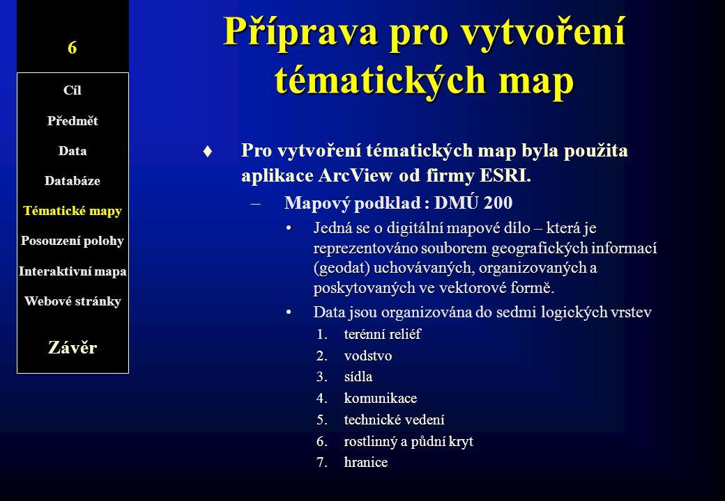 Příprava pro vytvoření tématických map