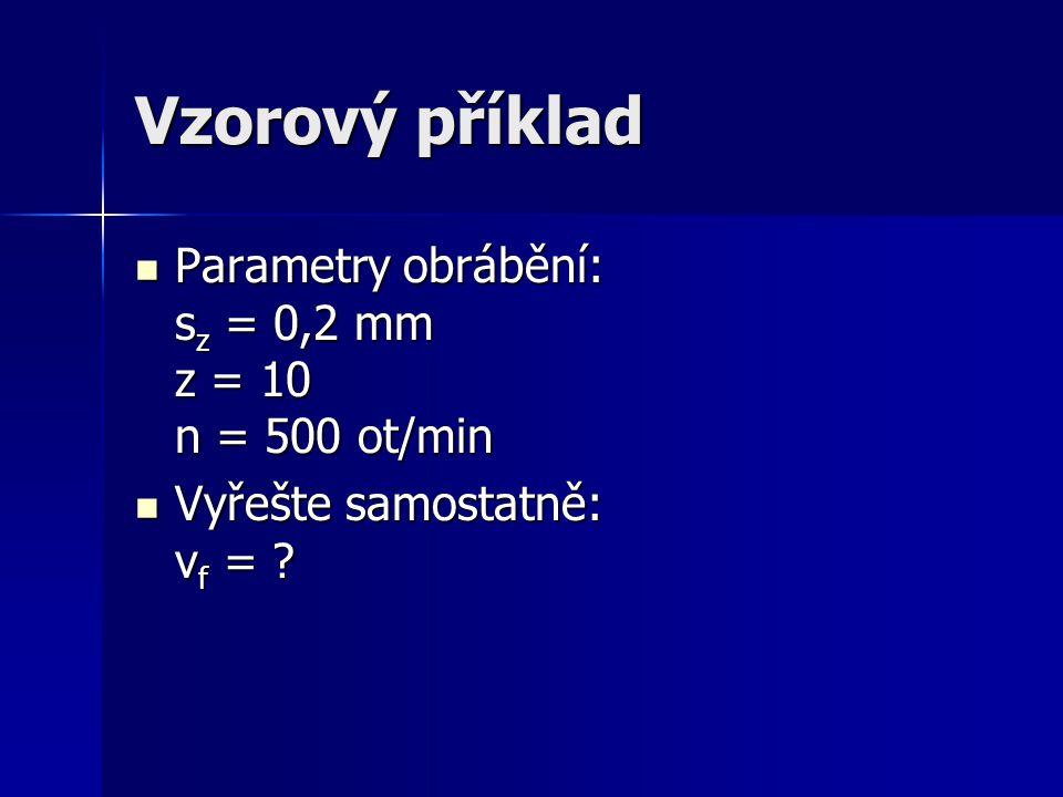 Vzorový příklad Parametry obrábění: sz = 0,2 mm z = 10 n = 500 ot/min