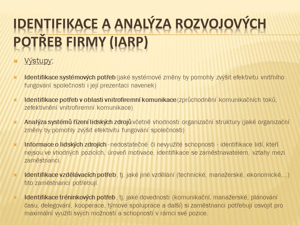 Identifikace a analýza rozvojových potřeb firmy (IARP)