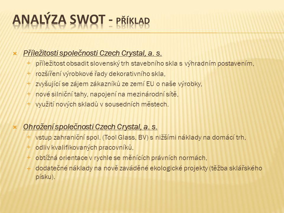 Analýza swot - příklad Příležitosti společnosti Czech Crystal, a. s.
