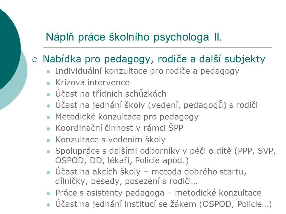 Náplň práce školního psychologa II.