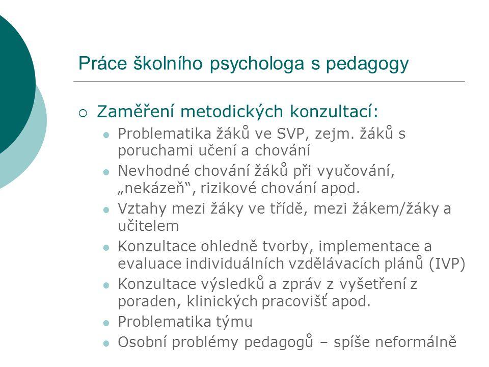 Práce školního psychologa s pedagogy