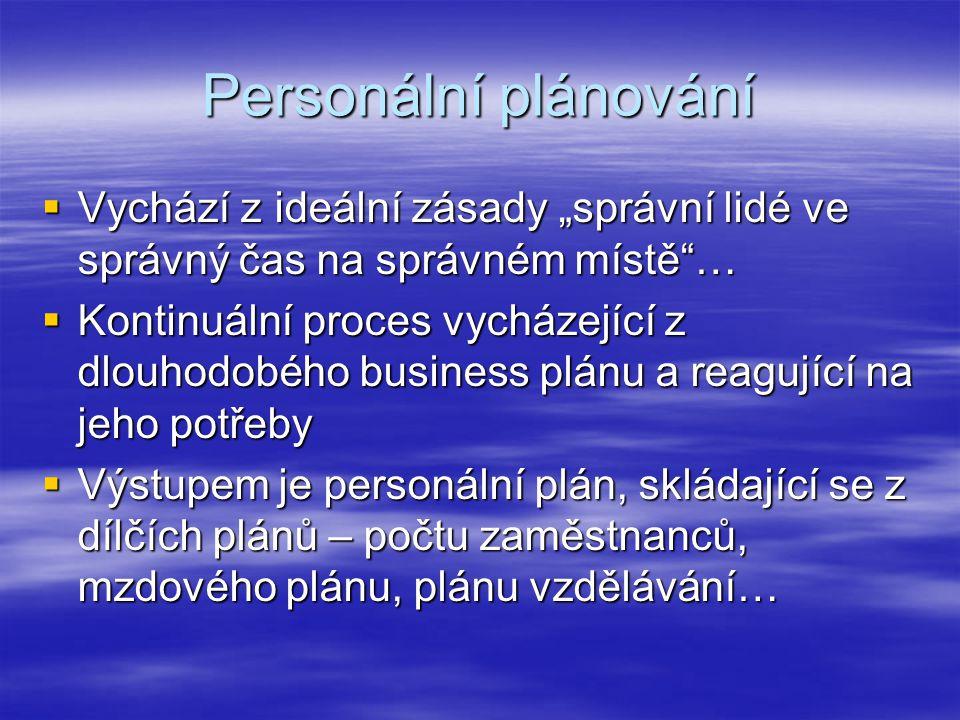 """Personální plánování Vychází z ideální zásady """"správní lidé ve správný čas na správném místě …"""