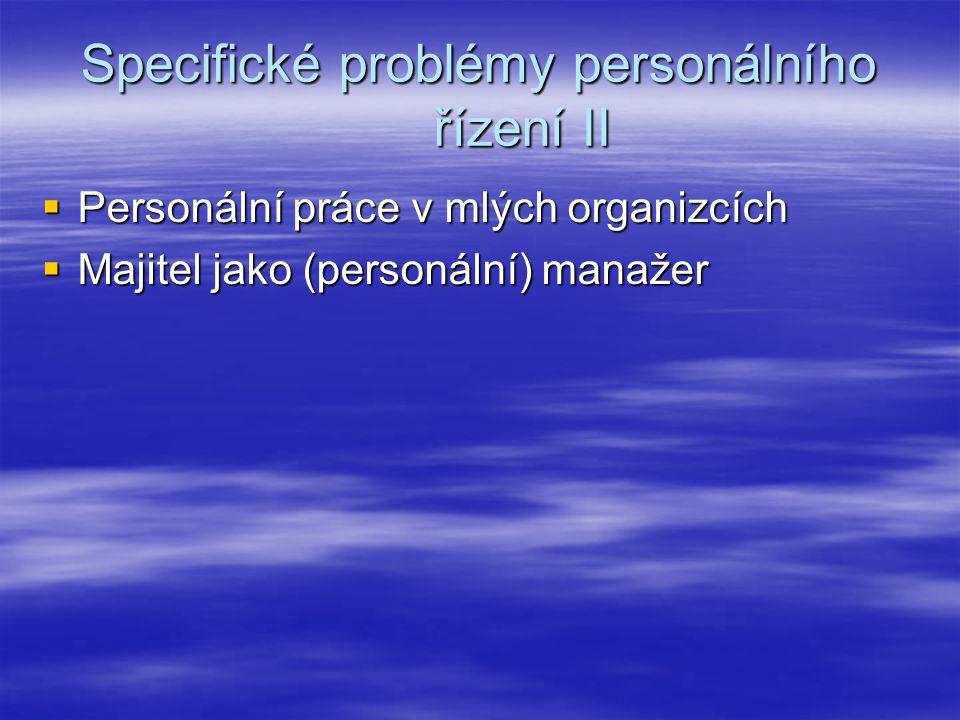 Specifické problémy personálního řízení II