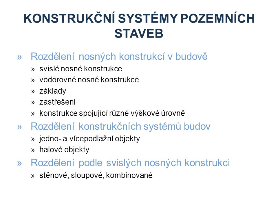 Konstrukční systémy pozemních staveb