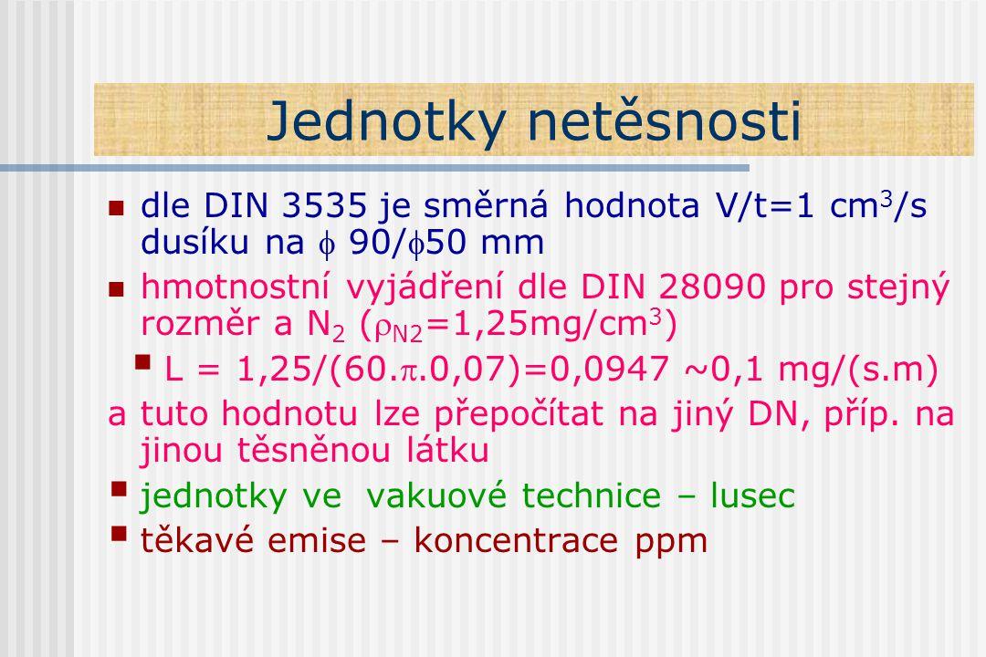 Jednotky netěsnosti dle DIN 3535 je směrná hodnota V/t=1 cm3/s dusíku na  90/50 mm.