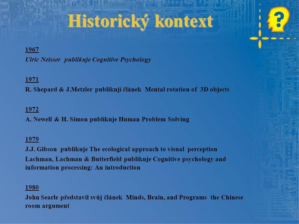 Historický kontext 1967 Ulric Neisser publikuje Cognitive Psychology