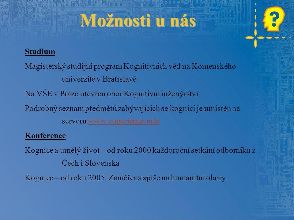 Možnosti u nás Studium. Magisterský studijní program Kognitivních věd na Komenského univerzitě v Bratislavě.