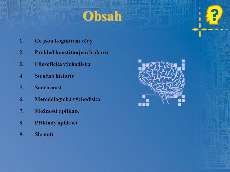 Obsah Co jsou kognitivní vědy Přehled konstituujících oborů