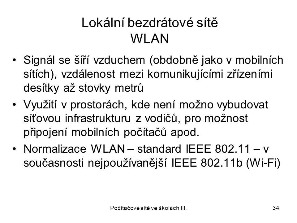 Lokální bezdrátové sítě WLAN