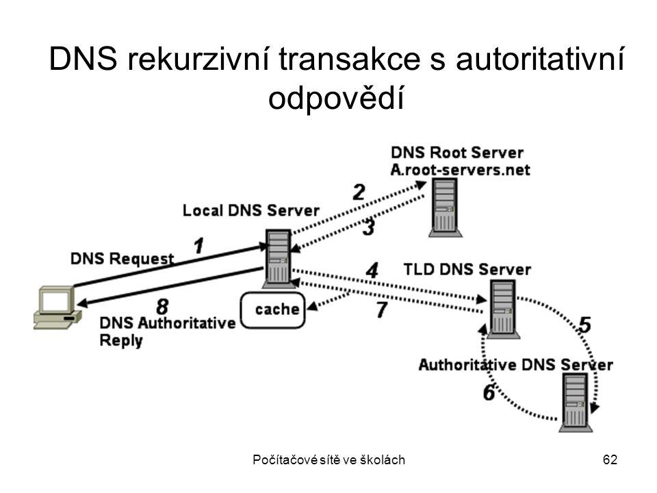 DNS rekurzivní transakce s autoritativní odpovědí
