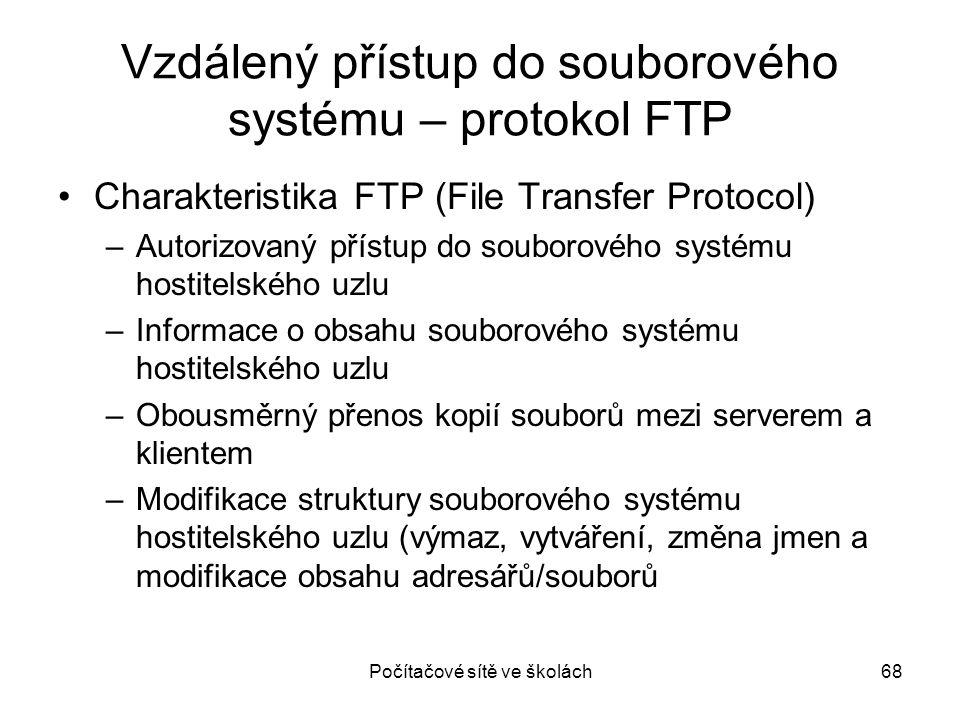 Vzdálený přístup do souborového systému – protokol FTP