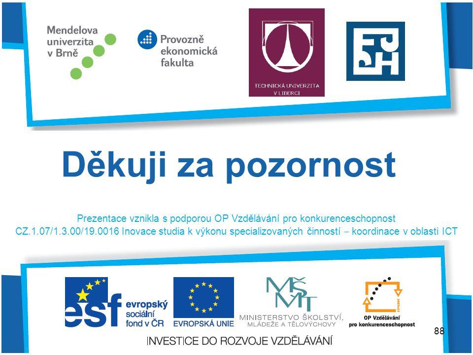 Prezentace vznikla s podporou OP Vzdělávání pro konkurenceschopnost