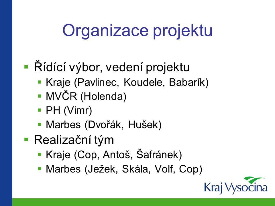 Organizace projektu Řídící výbor, vedení projektu Realizační tým