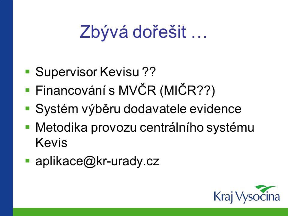 Zbývá dořešit … Supervisor Kevisu Financování s MVČR (MIČR )