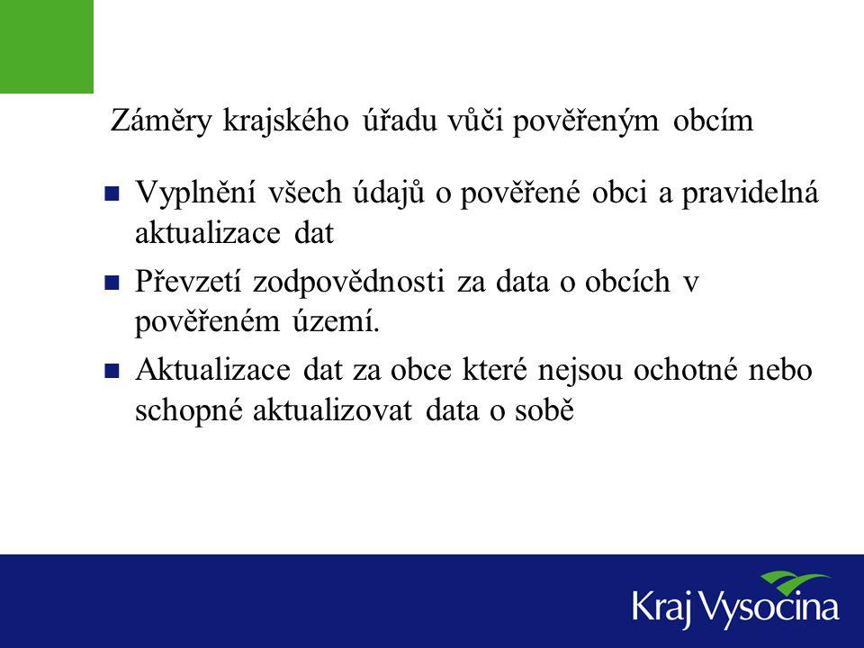 Záměry krajského úřadu vůči pověřeným obcím