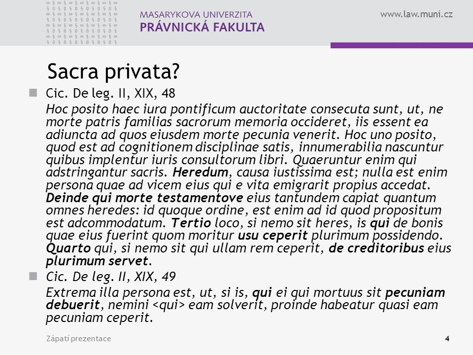 Sacra privata Cic. De leg. II, XIX, 48