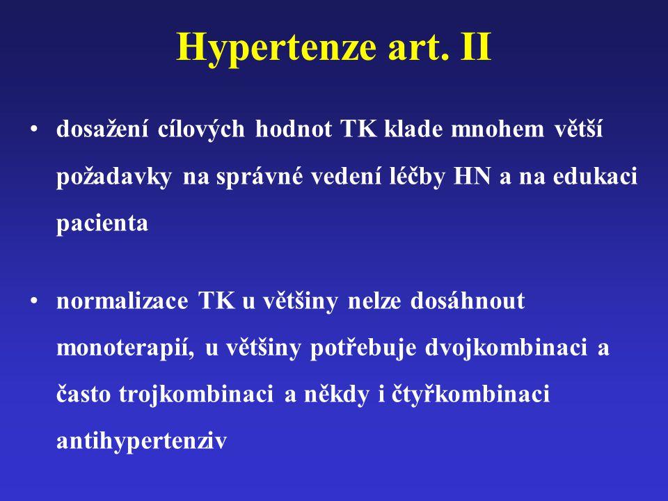 Hypertenze art. II dosažení cílových hodnot TK klade mnohem větší požadavky na správné vedení léčby HN a na edukaci pacienta.