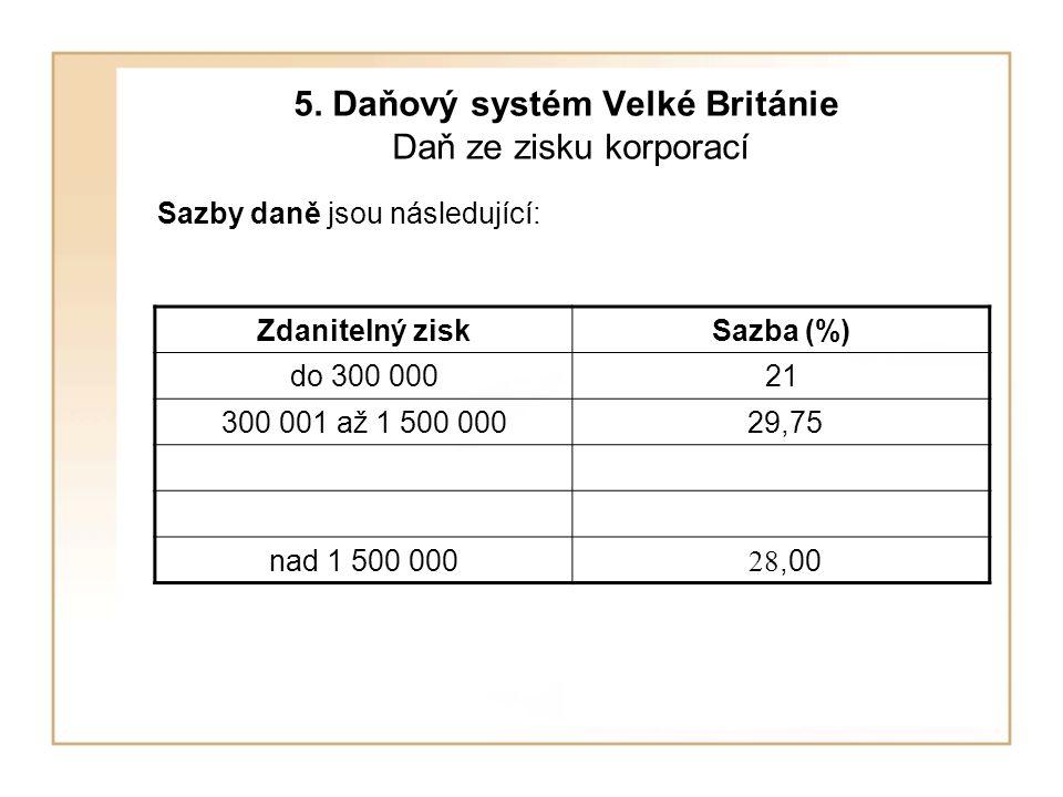 5. Daňový systém Velké Británie Daň ze zisku korporací