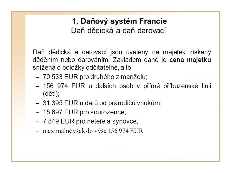 1. Daňový systém Francie Daň dědická a daň darovací