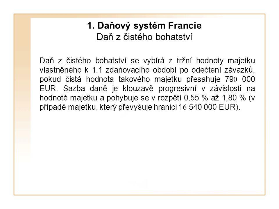 1. Daňový systém Francie Daň z čistého bohatství