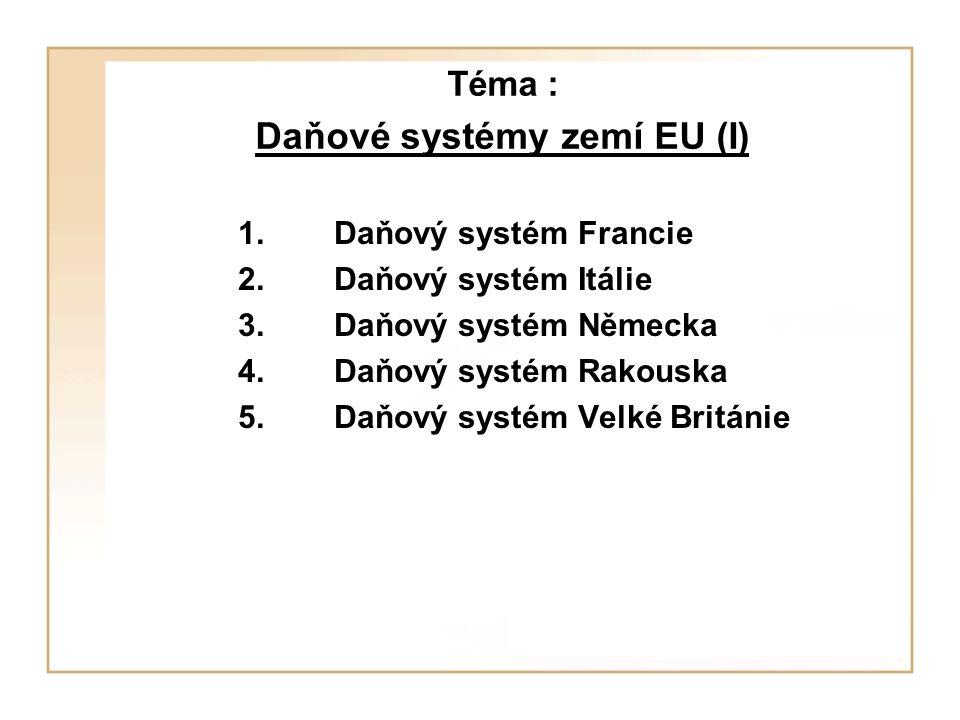 Téma : Daňové systémy zemí EU (I)