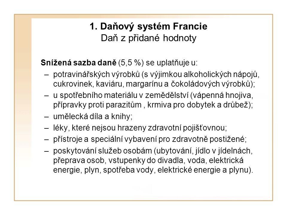 1. Daňový systém Francie Daň z přidané hodnoty