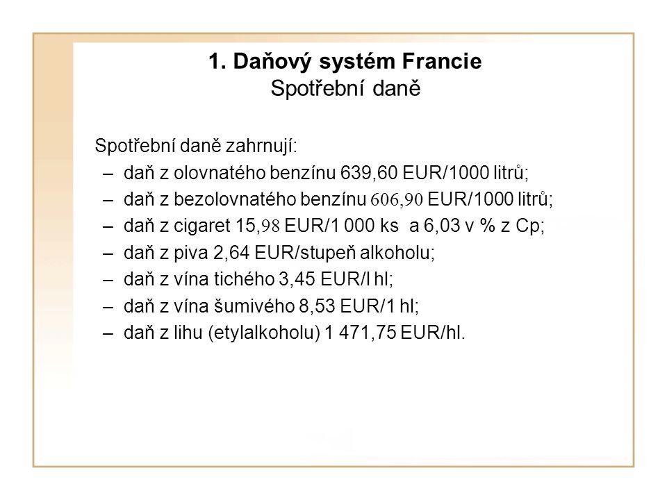 1. Daňový systém Francie Spotřební daně