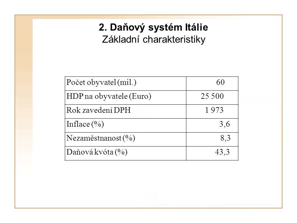 2. Daňový systém Itálie Základní charakteristiky