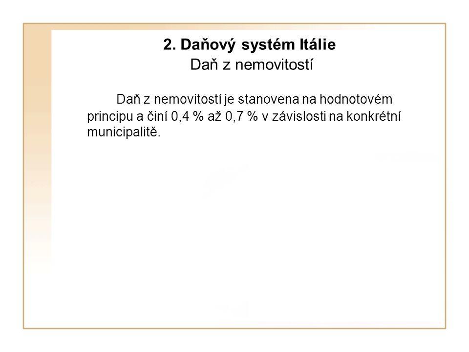 2. Daňový systém Itálie Daň z nemovitostí