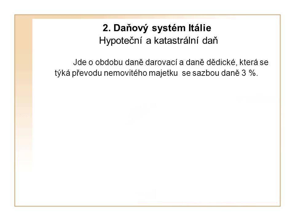 2. Daňový systém Itálie Hypoteční a katastrální daň