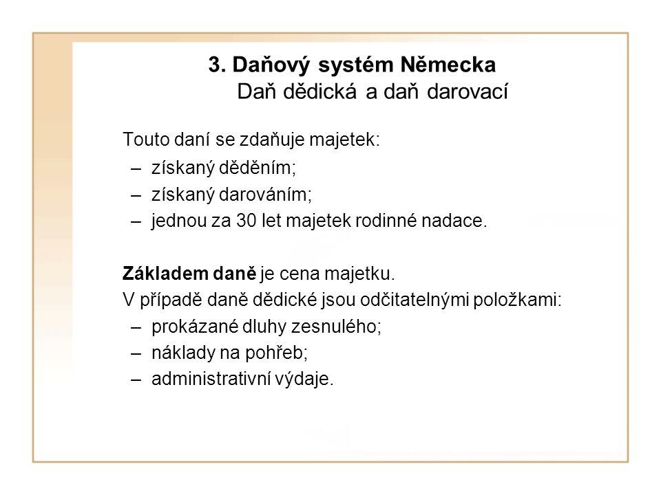 3. Daňový systém Německa Daň dědická a daň darovací
