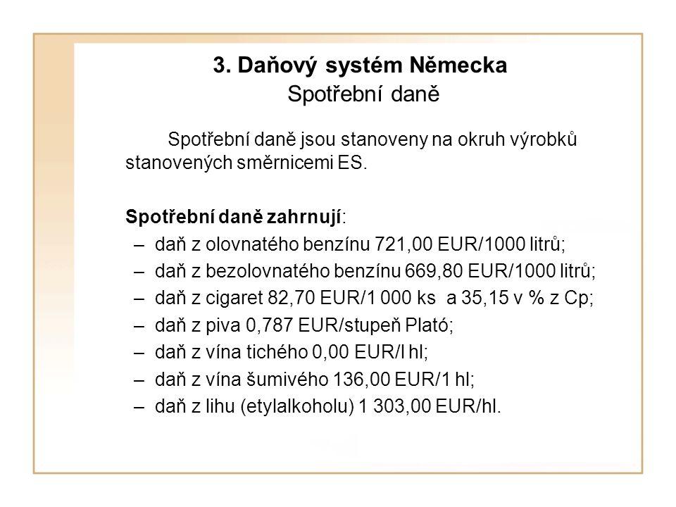 3. Daňový systém Německa Spotřební daně