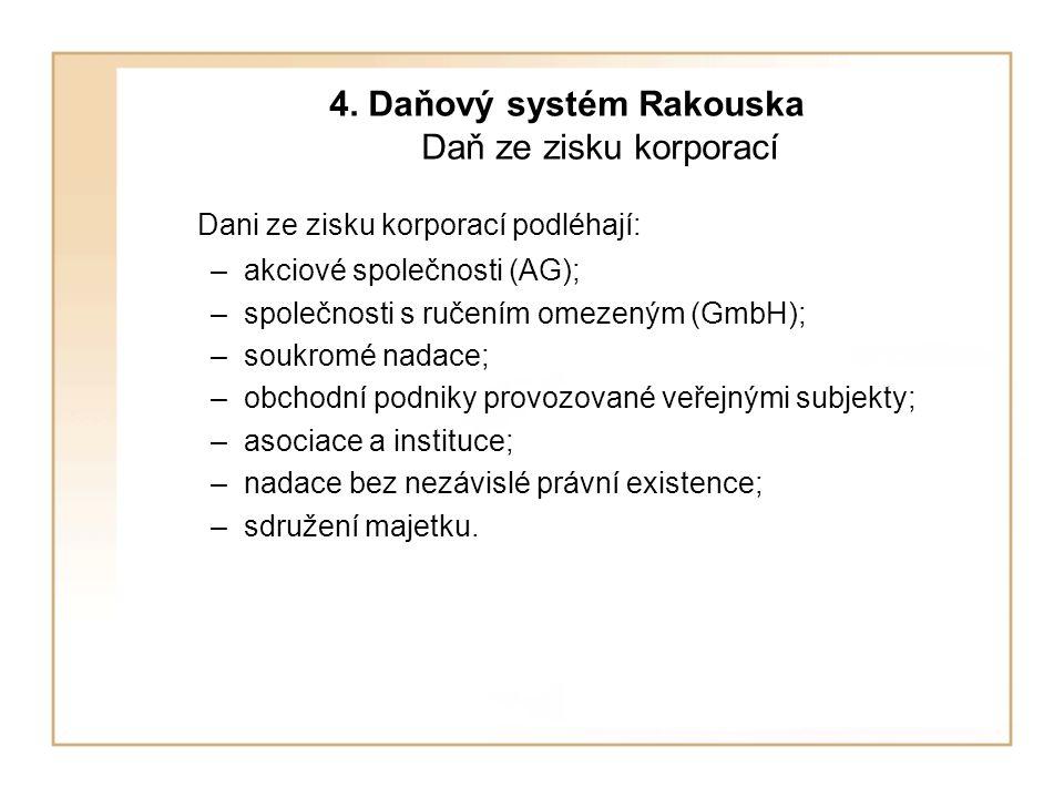 4. Daňový systém Rakouska Daň ze zisku korporací