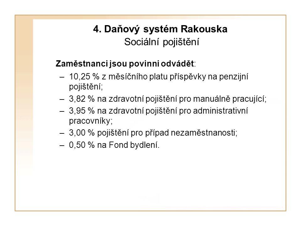 4. Daňový systém Rakouska Sociální pojištění